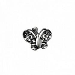 Colgante plata Ley 925m mariposa 21mm. oxidada calada [AC0605]