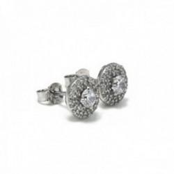 Pendientes plata Ley 925m rodiados 8mm. piedras circonitas [AC0612]