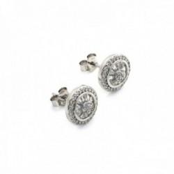Pendientes plata Ley 925m rodiados 10mm. piedras circonitas [AC0613]