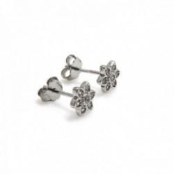 Pendientes plata Ley 925m rodiados 9mm. circonitas flor [AC0618]