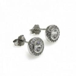 Pendientes plata Ley 925m 8mm. rodiados piedras circonitas [AC0619]
