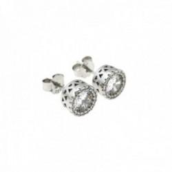 Pendientes plata Ley 925m rodiados piedras circonitas 8mm. [AC0625]