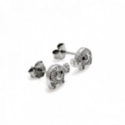 Pendientes plata Ley 925m rodiados 10mm. elefante circonitas [AC0628]