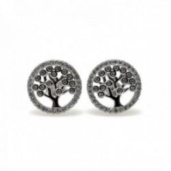 Pendientes plata Ley 925m rodiados 12mm. árbol de la vida [AC0632]