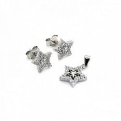 Juego plata Ley 925m rodiado estrellas piedras circonitas [AC0641]