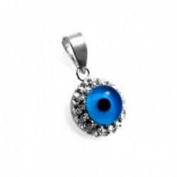 Colgante plata Ley 925m motivo ojo turco 10mm. circonitas [AC0654]