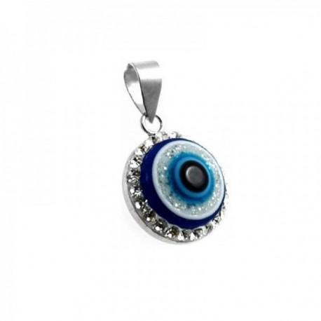 Colgante plata Ley 925m motivo ojo turco 12mm. circonitas [AC0655]
