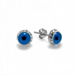 Pendientes plata Ley 925m motivo ojo turco 8mm. circonitas [AC0656]
