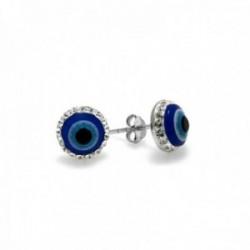 Pendientes plata Ley 925m motivo ojo turco 10mm. circonitas [AC0657]