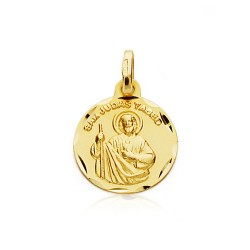 Medalla oro 18k San Judas Tadeo 14mm. inscripción unisex