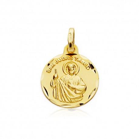 Medalla oro 18k San Judas Tadeo 14mm. inscripción [7204]