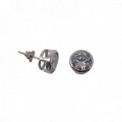 Pendientes plata Ley 925m chatón 9mm. circonita presión [AB9819]