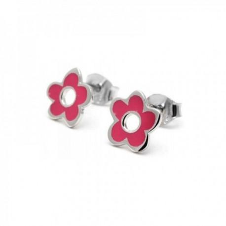 Pendientes plata Agatha Ruiz de la Prada 9mm. flor rosa [AB9825]