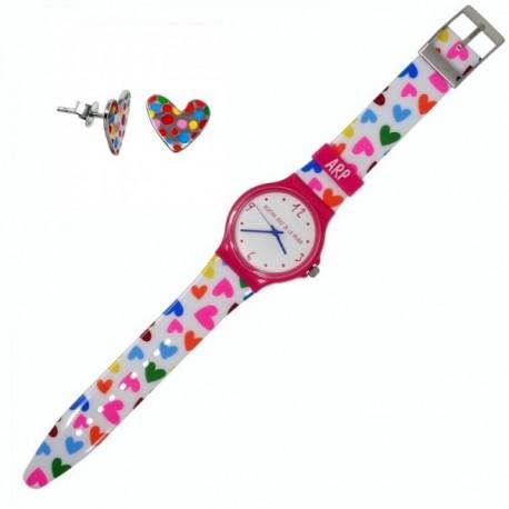 Juego Agatha Ruiz de la Prada reloj AGR240 pendientes plata [AB9830]