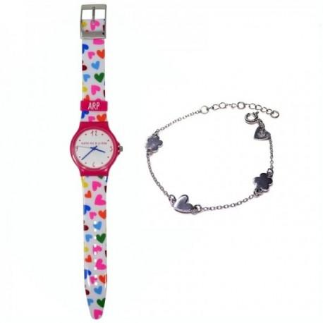 Juego Agatha Ruiz de la Prada reloj AGR240 pulsera plata [AB9831]