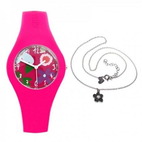 Juego Agatha Ruiz de la Prada reloj AGR221 colgante plata [AB9833]