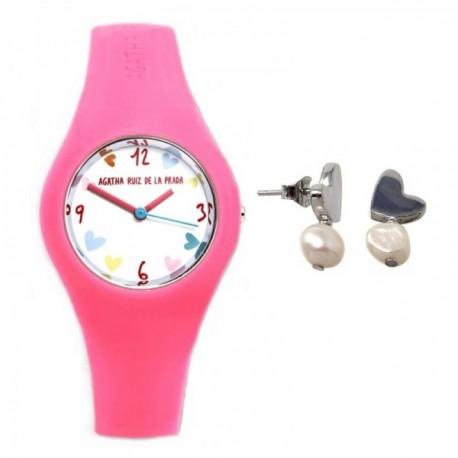 Juego Agatha Ruiz de la Prada reloj AGR223 pendientes plata [AB9834]
