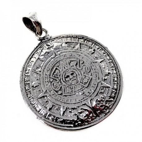 Colgante plata Ley 925m calendario azteca 24mm. liso [AB9836]