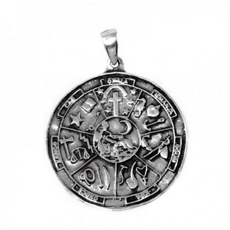 Colgante plata Ley 925m símbolos esotéricos 25mm. liso [AB9837]