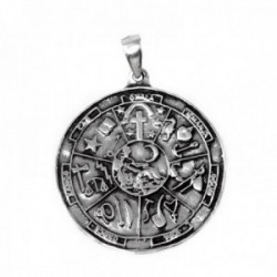 Colgante plata Ley 925m símbolos esotéricos 25mm liso [AB9837GR]