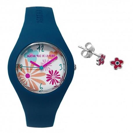 Juego Agatha Ruiz de la Prada reloj AGR226 pendientes plata [AB7263]