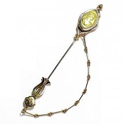 Alfiler oro 18k aguja cadena camafeo 94mm. cierre presión