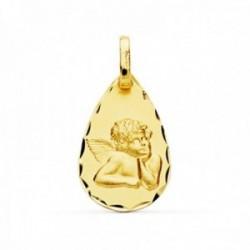 Medalla oro 18k Angelito burlón bordes tallados ligero [AC0904]