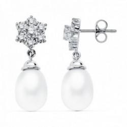 Pendientes oro blanco 18k largos 24mm. perlas lágrimas [AC0905]