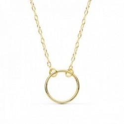 Gargantilla oro 18k Karma cadena tallada brillo 42cm aro 11mm [AC0907]