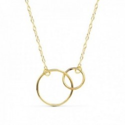 Gargantilla oro 18k Karma cadena tallada 42cm. doble aro [AC0914]
