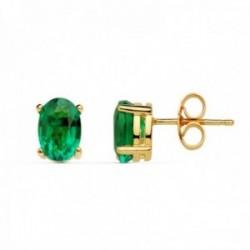 Pendientes oro 18k 7mm. esmeralda 1.58ct. recristalizada cierre presión mujer