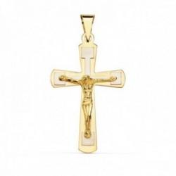Colgante oro bicolor 18k cruz Cristo 32mm. liso [AC0924]