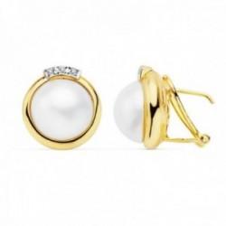 Pendientes oro 18k 15mm. perlas japonesas cultivadas cerco [AC0926]