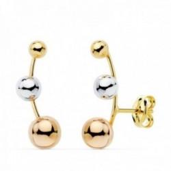 Pendientes oro tricolor 18k trepador bolas 16mm. diferentes tamaños cierre presión mujer