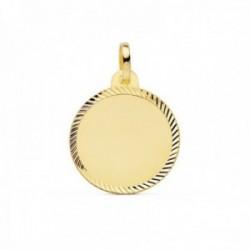 Colgante oro 18k disco 18mm. liso cerco tallado [AC0944]