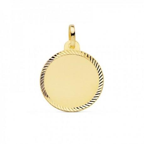 Colgante oro 18k disco 18mm. liso cerco tallado [AC0944GR]
