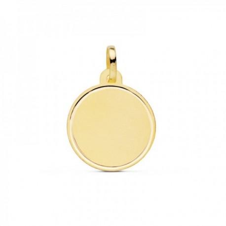 Colgante oro 18k disco 18mm. liso bisel marcado [AC0945]