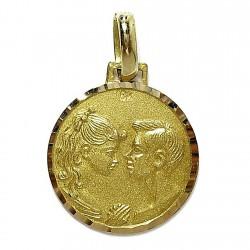 Medalla colgante oro enamorados [440]