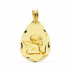 Medalla oro 18k Ángel forma gota borde tallado [AC0947GR]