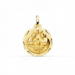 Medalla oro 18k Bautismo 18mm. paloma borde tallado [AC0950]