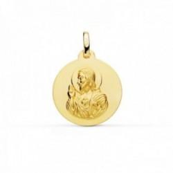 Medalla oro 18k Corazón de Jesús 18mm. lisa [AC0954]