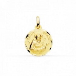 Medalla oro 18k Saint Benoit 16mm. lisa cerco tallado [AC0959]