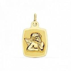 Medalla oro 18k Ángel 19mm. rectangular curvo borde liso [AC0972]