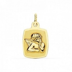 Medalla oro 18k Ángel 19mm. rectangular curvo borde liso [AC0972GR]
