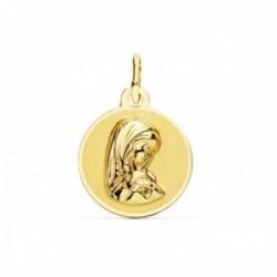 Medalla oro 18k Virgen Niña 14mm. redonda borde liso [AC0973]
