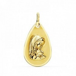 Medalla oro 18k Virgen Niña 19mm. forma gota borde liso [AC0974]