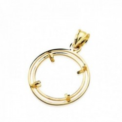 Colgante oro 18k para moneda 18mm. borde [AC0979]