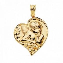 Colgante oro 18k angelito 25mm. forma corazón liso [AC0985]