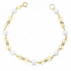 Pulsera oro 18k 16cm. perlas naturales 5mm. cadena motivos [AC0986]