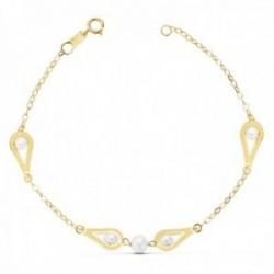 Pulsera oro 18k 18cm. perlas naturales motivos cadena [AC0987]